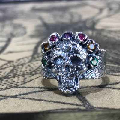 Silver Multi Gemstone Ring, Sugar Skull Calavera Crown