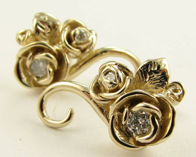 Yellow Gold Diamond Earrings, Rosebud Vine