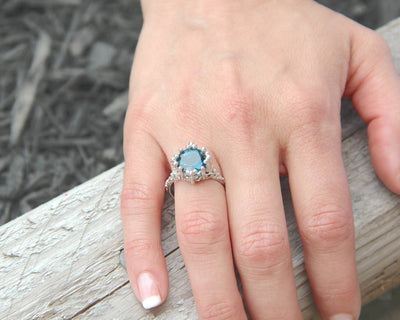 London Blue Topaz Silver Ring, Princess