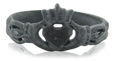 Blackened  Silver Claddagh Ring
