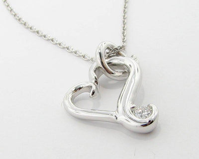 Silver Diamond Heart Necklace, Flutter