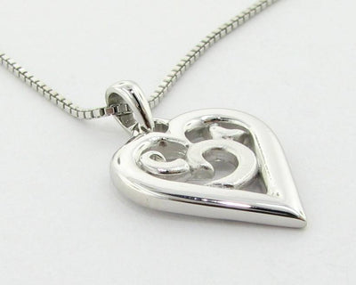 Silver Heart Necklace Duo Finish, Inamorata