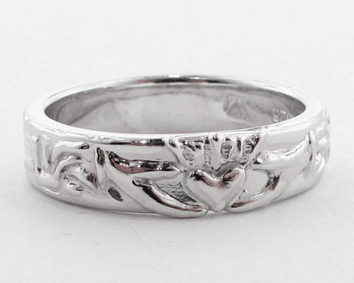 Silver Wedding Band, Claddagh Ring