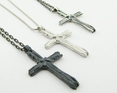 Silver Cross Necklace, Driftwood
