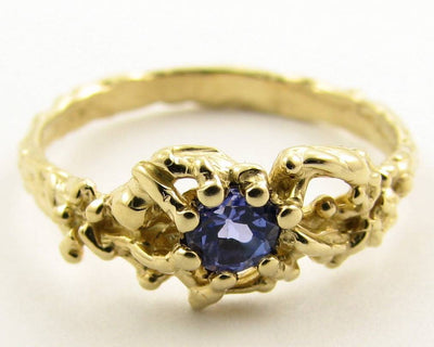 Tanzanite Yellow Gold Ring, Organic