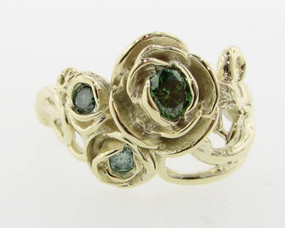 Green Diamond Green Yellow Gold Ring, Rose Bouquet