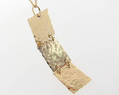 Hammered 3 Level Pendant, Yellow Gold