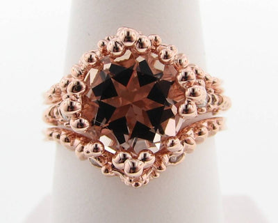 Morganite Rose Gold Wedding Ring Set, Princess Ring