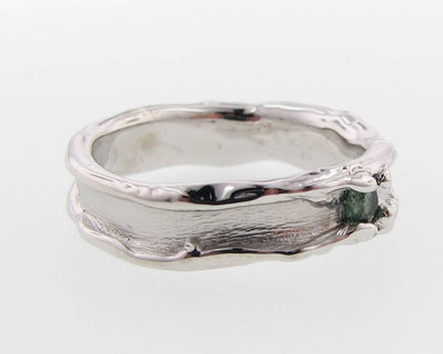 Green Tourmaline Silver Ring, Medium Melted