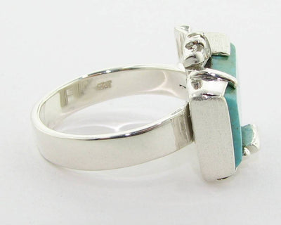 Turquoise Silver Diamond Ring, Fortress
