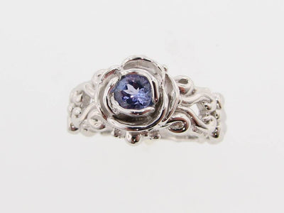 Tanzanite Silver Ring, Victorian, A la Rose