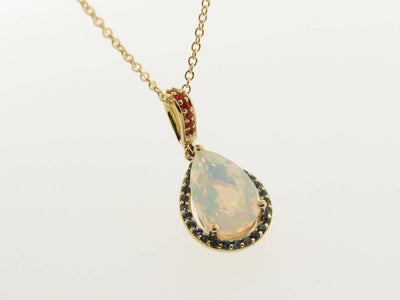 Opal Topaz Yellow Gold Pendant, Fiery