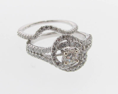 White Gold Diamond Wedding Ring Set, Swirl