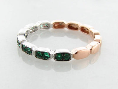 Rose White Gold Two Tone Emerald Stacking Ring, Gondola