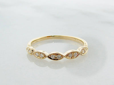Yellow Gold Milgrain Diamond Ring, Engageante
