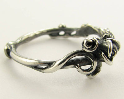 Antique Silver Rose Ring, Garden