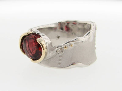Tourmaline Silver Gold Two Tone Ring, Blushing Autumn