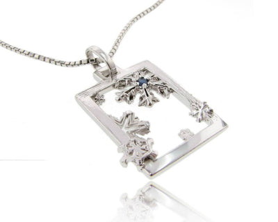 Silver Blue Sapphire Snowflake Pendant, Winter Window