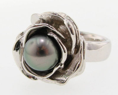 Tahitian Pearl Silver Ring,  Blooming Rose