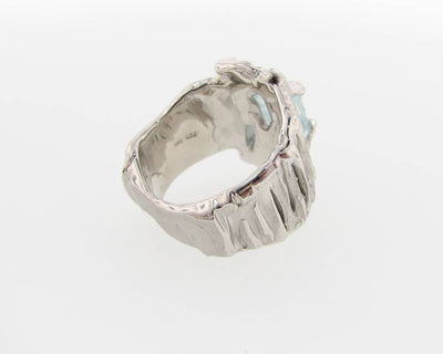 Raw Aquamarine Silver Ring, Silkture