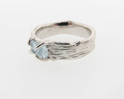 Raw Aquamarine Silver Ring, Birch Bark