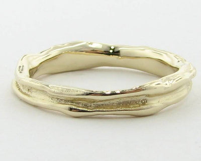 Yellow Gold Ring, Skinny Melted Band