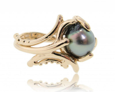 Black Pearl Ring Yellow Gold Ring, Maleficent