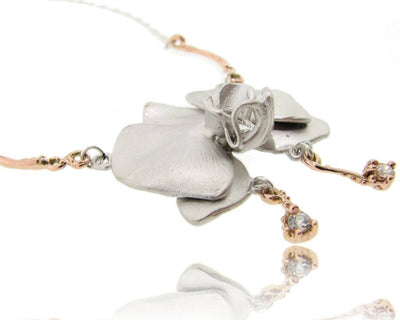 Silver Rose Gold Orchid Pendant Antique Diamonds