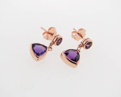 Rose Gold Amethyst Earrings, Trillion Dangle