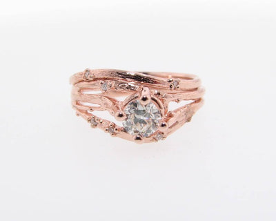 Rose Gold Wedding Ring Set, Euro Cut Diamond, Cherry Blossom