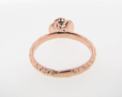 Pearl Rose Gold Ring, Stacking Solitaire Rose