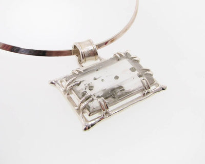 Rutilated Quartz, Pyrite, Silver Necklace