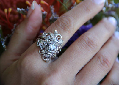 Moissanite White Gold Ring, Jane Rose