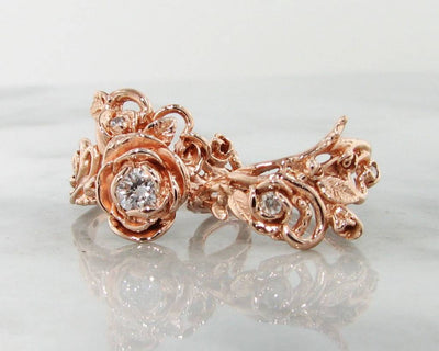 Diamond Rose Gold Wedding Ring Set, Jane Rose