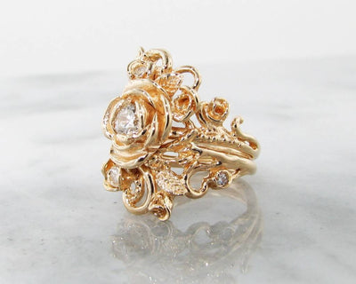 Diamond Yellow Gold Wedding Set, Jane Rose Ring