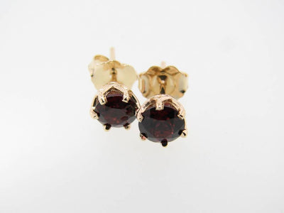 Rhodolite Garnet Yellow Gold Earrings, Princess