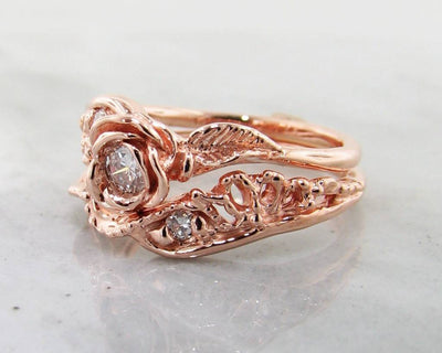 Diamond Rose Gold Wedding Set, Lacy Tea Rose
