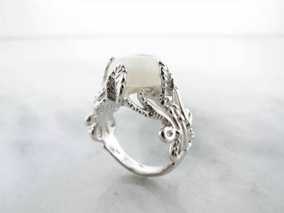 Silver Moonstone Ring, Leafy Victorian