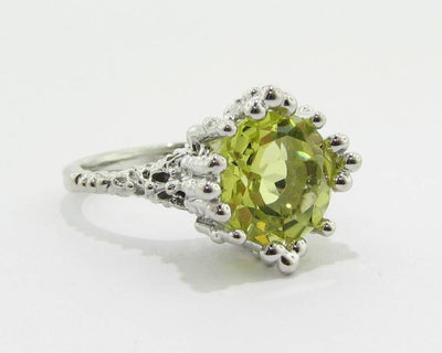 Lemon Quartz Silver Ring, Princess