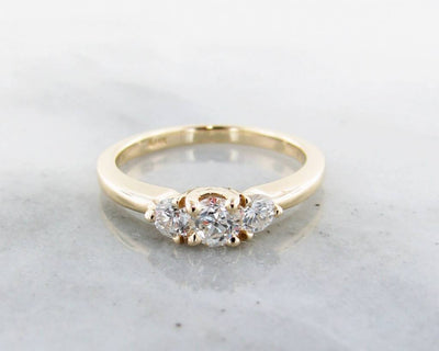 Diamond Yellow Gold Ring, Three Stone Anniversary Band