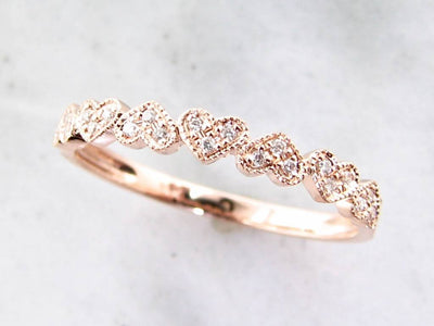Rose Gold Diamond Stacking Ring, Hearts Aflutter