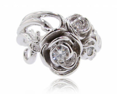 Moissanite White Gold Ring, Rose Bouquet