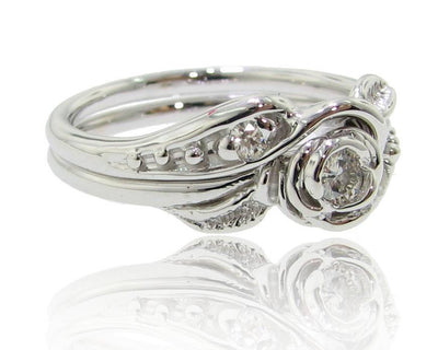 Moissanite White Gold Wedding Ring Set, Tea Rose