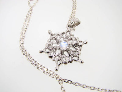 Moonstone Silver Snowflake Necklace, St. Joseph