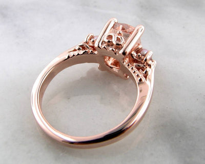 Morganite Pearl Rose Gold Ring, Old Paris