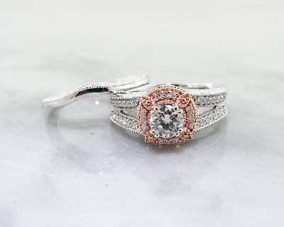 wexford-jewelers-two-tone-rose-white-gold-halo-wedding-ring-set