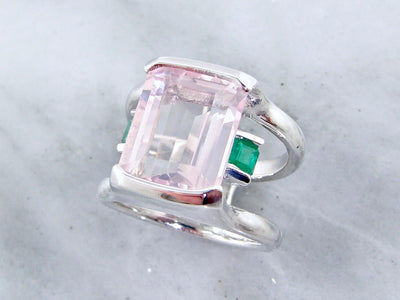kunzite-emerald-silver-gemstone-ring-wexford-jewelers