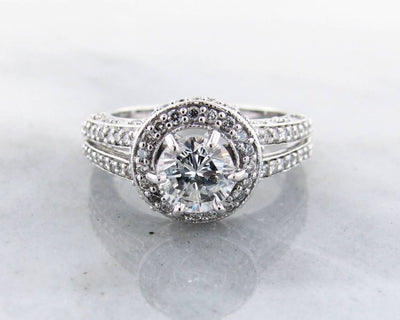 Diamond White Gold Engagement Ring, Halo