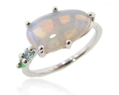 Opal Silver Ring, Stained Glass