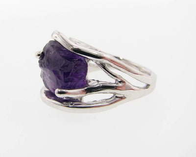 Raw Amethyst Silver Ring, Openwork Arches